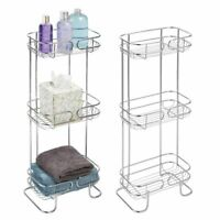 Pair of 2 Metal Chrome 3 Tier Slim Shelf Stand Bath Storage Towel Tissue 27""