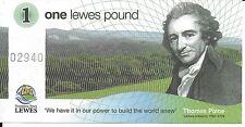 SALE-Lewes Pound, Early Issues. Original design. Money. Tom Paine.Lewes Castle.