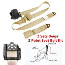 2 Sets Beige 3 Point Car Front Seat Belt Buckle Kit Retractable Safety Straps