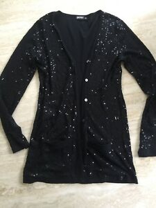 DKNY long cardigan w/sequins xp