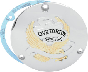 Drag Specialties Live to Ride Derby Cover Gold 1107-0156