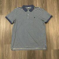 Brooks Brothers Mens 2XL Striped Cotton Slim Fit Performance Polo Shirt Blue