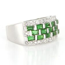 Band Right Hand Cocktail Ring Estate Vintage 14k Gold Diamond Tsavorite Garnet