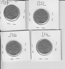 Canadian 5 cent coin lot George V 1931,1932, 1933 &1934