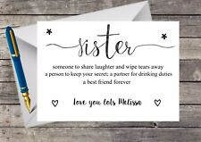 Personalised Sister Birthday Card, 30th 21st 40th  A5 & Envelope