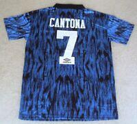 RETRO 'ERIC CANTONA 7' MANCHESTER UNITED 1993-4 BLUE AWAY SHIRT (LARGE) BNWT