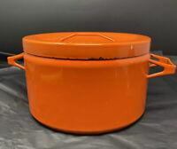 Vtg MCM Finnish Wärtsilä Finel by Seppo Mallat for Arabia Pot Orange 4 litre