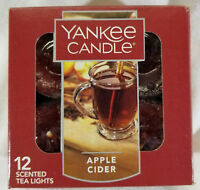 Yankee Candle APPLE CIDER Box of 12 Scented Tealights Tea Light Brown New Label