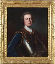 Large antique 18thC huile fine peinture portrait noble homme Vicomte Bury 1724-1772