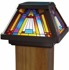 Solar Post Light Cap 4x4 Pole Outdoor LED Light Stained Glass Lamp Garden Yard