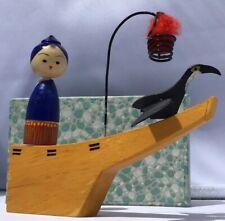 "Vintage Japanese Wooden Kokeshi Cormorant & Fisherman Of Gifer 50-60's  #22 4.5"""