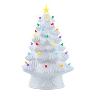 "Mr. Christmas Nostalgic Look Prelit LED 16"" White Ceramic Christmas Tree"