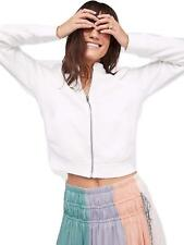 Free People Women Just for You Knit Zip up Shirred Sleeve Jacket White SMALL NWT