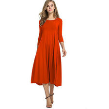 Plus Size Women Ladies Stretch Long Sleeve Swing Flared a Line Skater Dress Tops Red 2xl