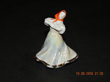 DULEVO PEARLISED PORCELAIN DANCING LADY WITH ORANGE HEADSCARF FIGURINE USSR