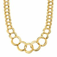 Graduated Circle Link Necklace in 18K Gold-Plated Bronze, 18""