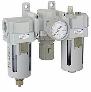 "PneumaticPlus Air Filter Regulator Lubricator Combo 3/4"" NPT 250 PSI SAU400-N06G"