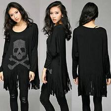 Women Long Sleeve Casual Tassel Skull Printed Loose T-Shirt Tops Blouse O8