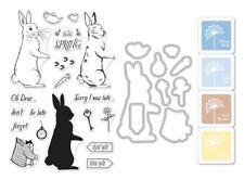 "Hero Arts ""RABBIT"" Clear Stamps + Frame Cuts Dies + Mini Ink Pad Set Bundle"