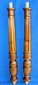 Antique Pair of Columns Carved in wood Walnut - Balusters - Pillars - Trim Posts