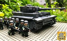 WW2 German Tiger I Early Production Tank Brick Set + Minifigures