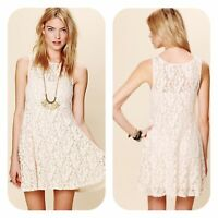 Free People Women's Ivory Miles of Lace Sleeveless Fit 'n Flare Dress Size S