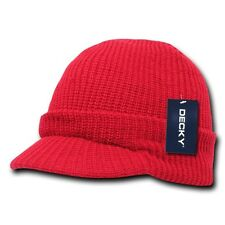 Red Visor Beanie Jeep GI Military Ski Snowboard Watch Cap Caps Hat Hats Beanies
