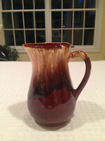 "Vintage Robinson Ransbottom Pottery 6"" Brown Drip Pitcher Jug 16 oz Roseville OH"