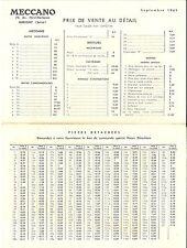 Barème des prix Tarif 1961 MECCANO HORNBY HO DINKY TOYS katalog price catalog