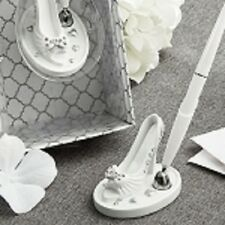 New wedding white diamante detail fairy tale princess shoe design pen set
