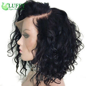 Short Water Wave Bob Wigs Lace Front Human Hair Wig Bleached Knots Full Lace Wig
