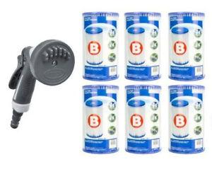 6 Pack Intex Type B Pool Filter Cartridge + Bonus Hydro Stream Cartridge Clean