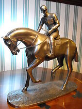 RACE HORSE FIGURE FIGURINE STATUE BRONZE EFFECT HORSE AND RIDER jockey FIGURINE