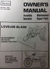 Sears Lawn Garden Tractor 3-Point Leveler Rear Grader Blade Owner & Parts Manual