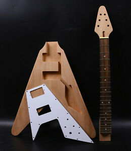 1set guitar Kit 22 Guitar Neck Guitar Body Mahogany Rosewood Flying V Dot Inlay