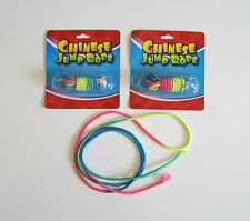 2 NEW CHINESE JUMP ROPES MULTI COLORED NEON ELASTIC JUMP ROPE CLASSIC TOY
