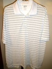 Men's ADIDAS GOLF CLIMALITE POLO SIZE LARGE WHITE W/BLUE AND TAN