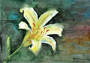 original painting A4 21BS art samovar watercolor flowers lily Signed 2021