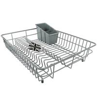 Delfinware Large Plastic Coated Grey Dish Drainer & Cutlery Basket Sink Rack