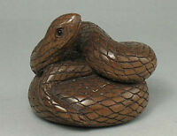 Japanese 1940's Netsuke Boxwood Wood Handicrafted Snake Figurine Carving WN350