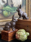 Timeless Bronze Traditional English Rabbit Hare Bunny Mantle Table Pair 4.25