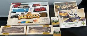Bachman Ho Diesel Express Santa FeTrain Set Original Box, Huge lot, All NIB