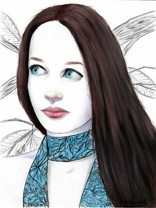 original painting 24x32 cm 25YkV art Mixed Media Realism female portrait Signed