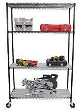 TRINITY 4-Tier Wire Shelving Rack- NSF - Includes Wheels and Liners - Black NEW