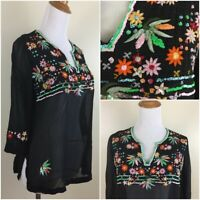 CITRON Santa Monica Womens Small 100% Silk Beaded Embroidery Sheer Shirt