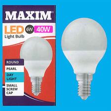 4x 6W G45 Golf Ball LED Light Bulb, Round E14 SES 6500K Daylight White Lamp