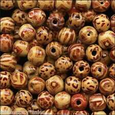 100 BAMBOO Craft ART BEADS 11-12mm Round w/ 2-3mm drilled hole ~ Natural COLORS