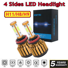 4 Sides H11 H8 H9 Canbus LED Headlight Conversion Bulbs Kit 480000LM 6000K White