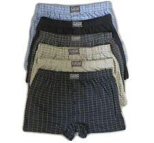 6 Pairs Mens Cotton Rich Button Boxer Shorts Check or Plain Boxers Sizes S-6xl L