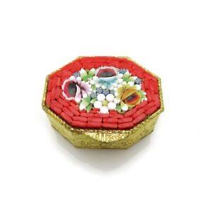 Vintage Italian Micro Mosaic Pill Box Hexagonal Red Bright Flowers Gold Plated